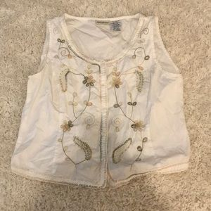 White Stag Brand White Cropped Embroidered Vest